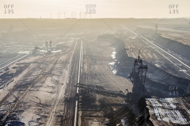 North Rhine-Westphalia, Grevenbroich, Germany - December 10, 2014: View to bucket-wheel excavator at brown coal mining Garzweiler