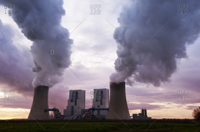 North Rhine-Westphalia, Grevenbroich, Germany - December 10, 2014: Modern brown coal power station