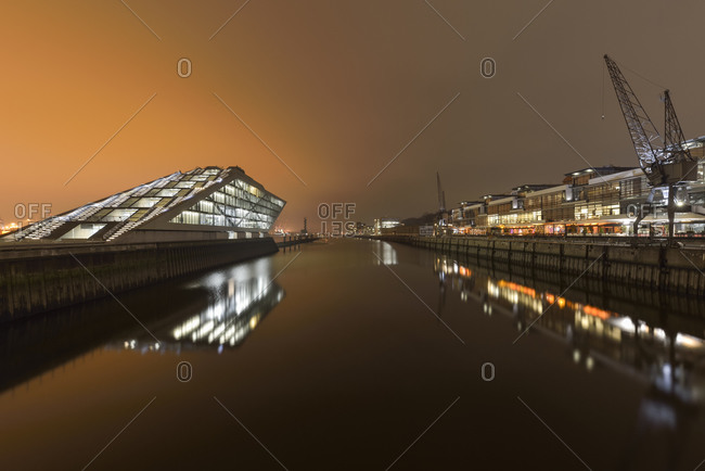Modern architecture at Dockland at night, Hamburg