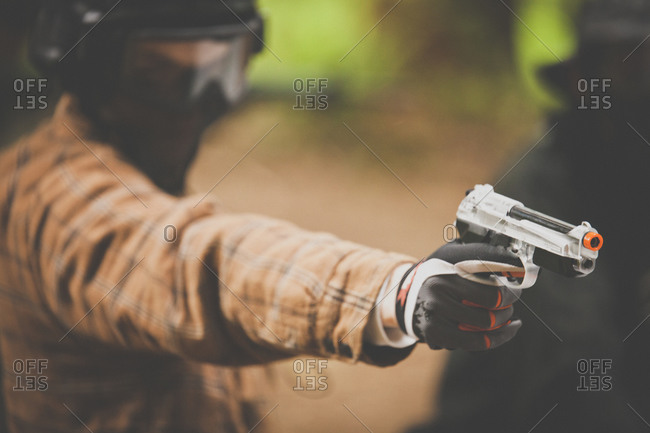 Man holding pistol