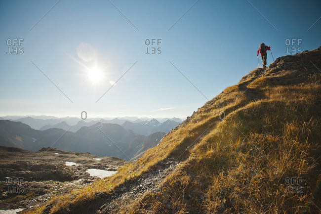 Man hiking in North Cascades National Park