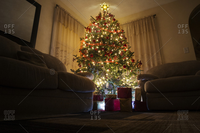 A Christmas tree and presents