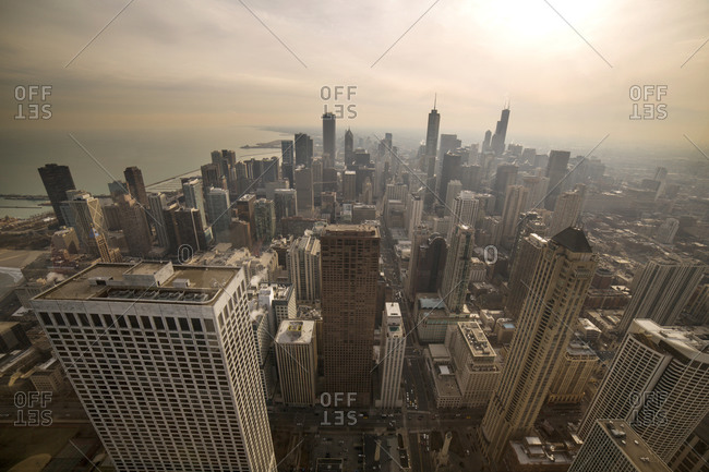 Aerial view of downtown Chicago on a hazy afternoon
