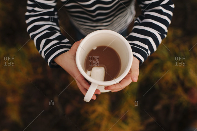 Overhead of child holding mug of hot cocoa