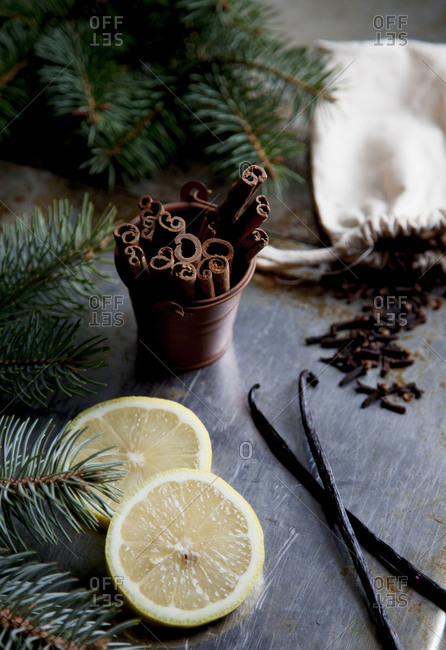 Pine branches, lemon slices, vanilla beans, and cinnamon sticks