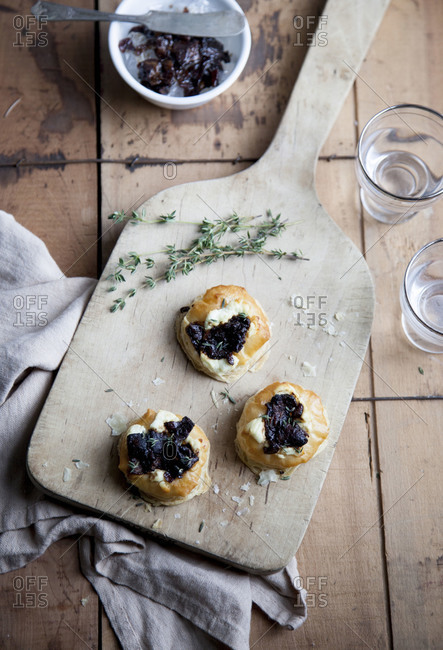 Small tarts on a cutting board