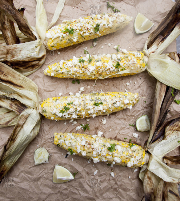 Elote corn on brown paper
