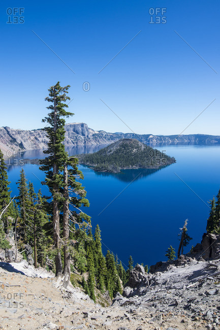 The huge caldera of the Crater Lake National Park, Oregon, United States of America, North America
