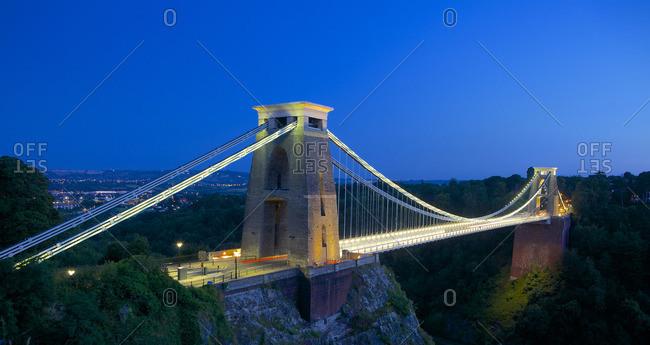 Bristol, England, United Kingdom - July 22, 2014: Clifton Suspension Bridge lit up at night