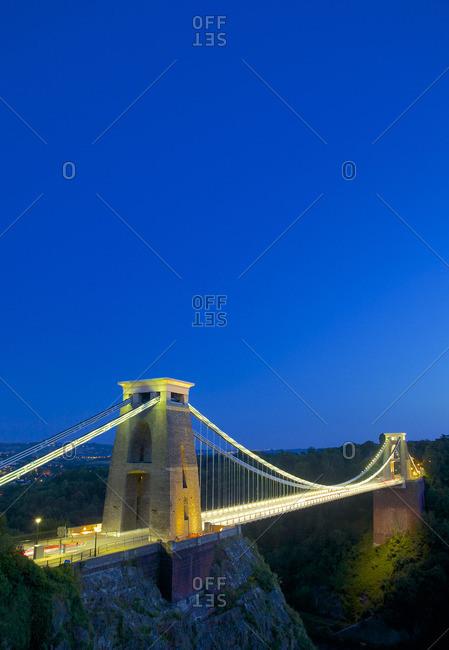 Bristol, England, United Kingdom - July 22, 2014: Clifton Suspension Bridge lit up at twilight