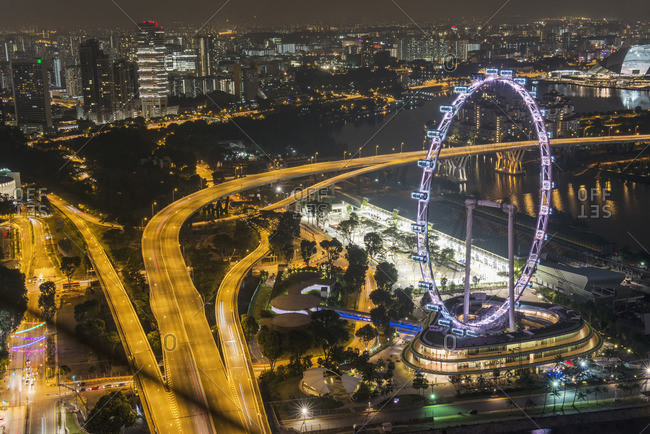 Singapore, Southeast Asia, Asia - August 15, 2014: The Flyer at night
