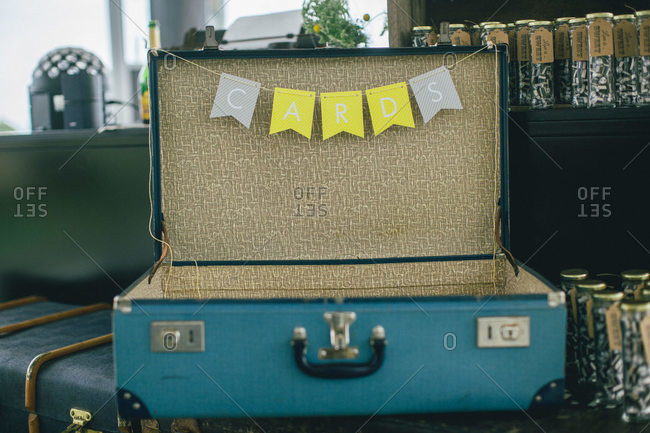 A vintage suitcase used for wedding gifts