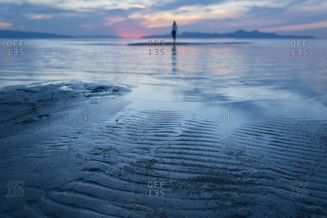 A woman walks in shallow tide at sunset