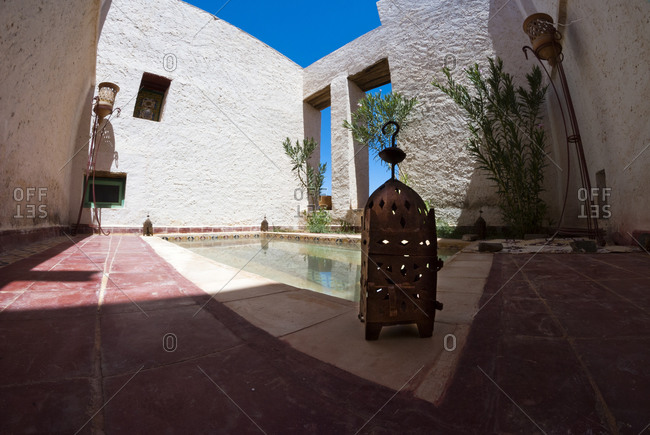 Morocco - August 17, 2010: Courtyard of typical Moroccan home