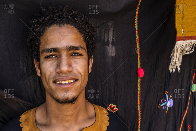 Morocco - August 17, 2010: Portrait of young Moroccan man in traditional dress