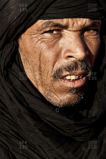 Morocco - August 18, 2010: Close up of Moroccan Berber man