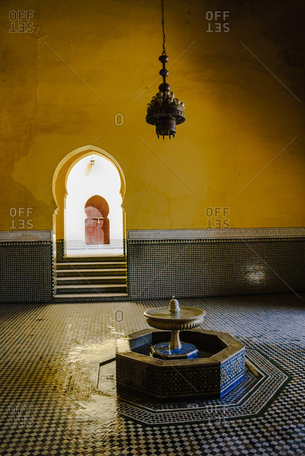 Morocco - August 22, 2010: Interior fountain of Moroccan palace