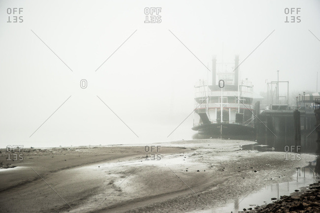 A ferry boat in the fog in New Orleans