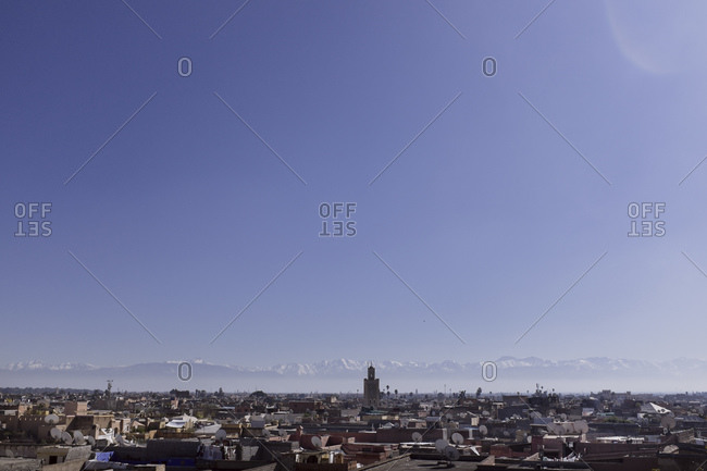 View of Marrakech with Atlas mountains behind
