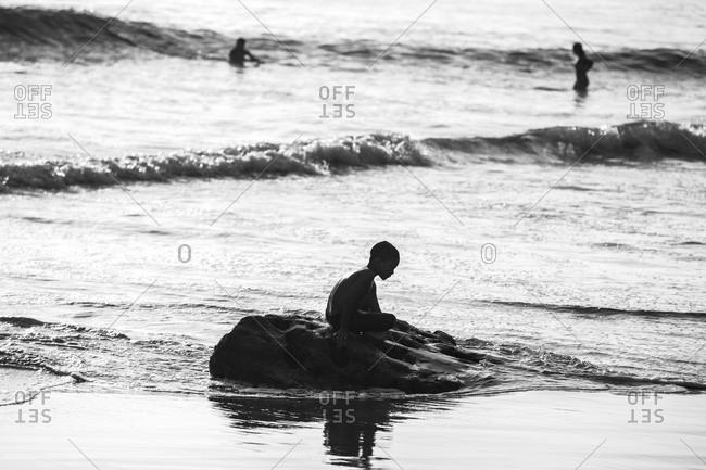 Rivas, Nicaragua - December 23, 2014: A Nicaraguan boy on the beach