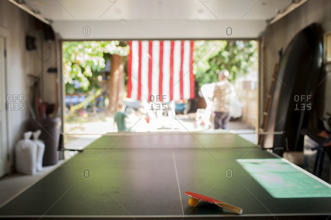 Ping pong table in a garage