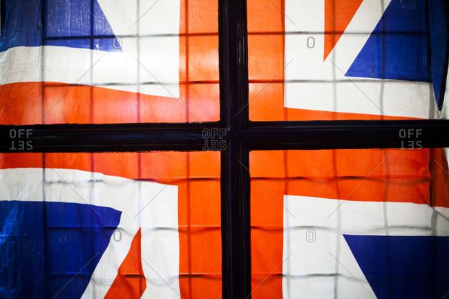 Flag of the United Kingdom on a window