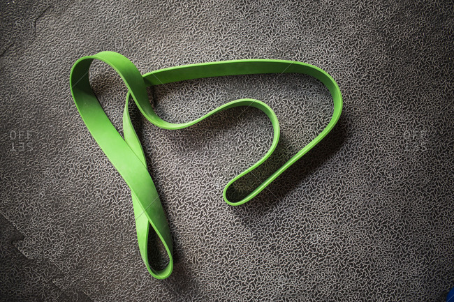 Close up of an exercise band
