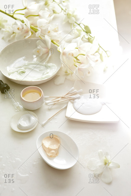 Skincare products in bowls