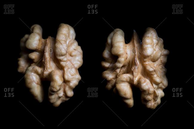 Studio shot of two walnut halves on black background