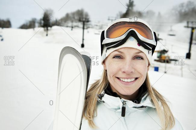 Portrait of a woman on a ski slope