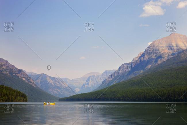 Woman in boat in Glacier National Park