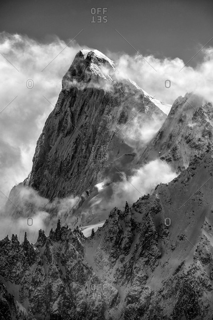 The north face of Grandes Jorasses seen from Aiguille du Midi, France