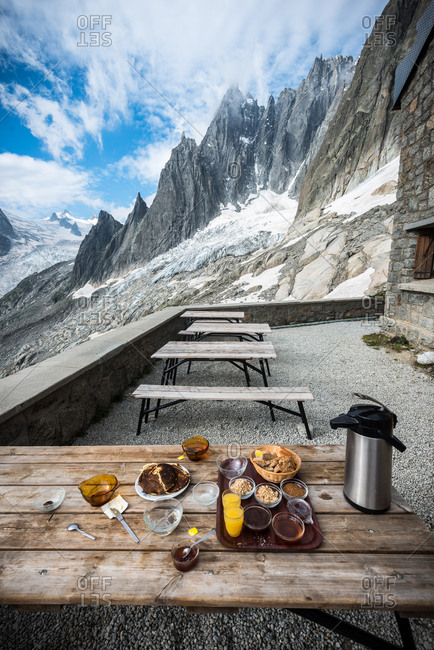 Breakfast on the terrace of the Refuge de l'Envers, Aiguille de la Republique, Mont Blanc Massif, France