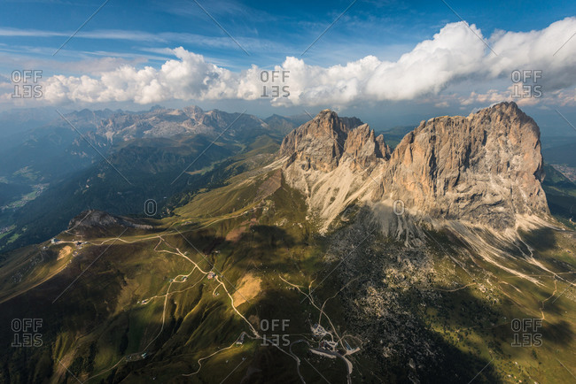 The Langkofel group seen from above the Sella group, Trentino, Italy