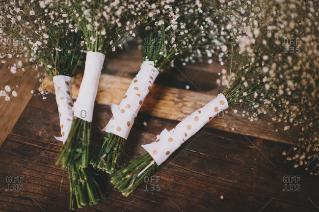 Four bouquets of baby breath