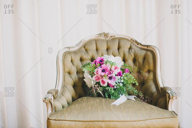 Wedding bouquet in an armchair