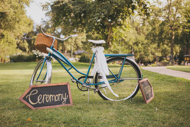 Bicycle in a park signaling wedding ceremony