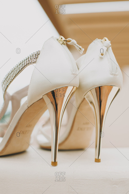 Bridal shoes with shiny heels