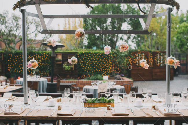 Set table for a wedding reception outdoors