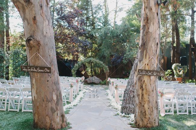 Empty wedding venue outdoors
