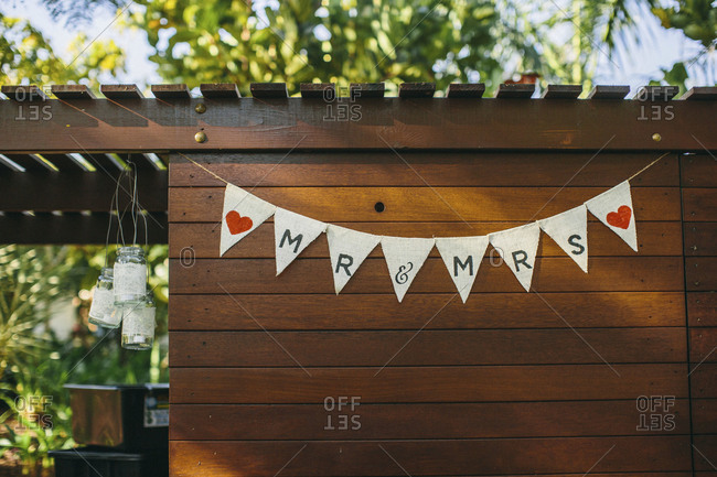 Pennant decorations for a wedding at a resort, Broome, Western Australia