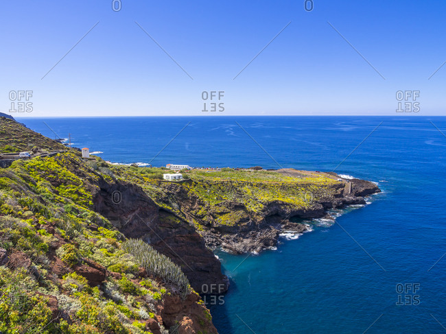 View to cliff coast with nature bath