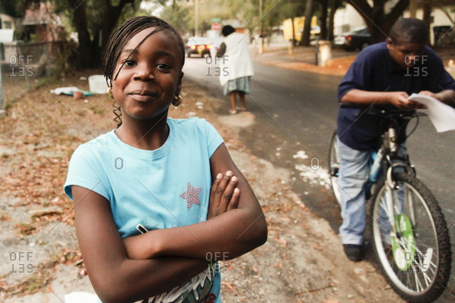 Tampa, Florida - January 10, 2011: Children in the inner city of an African American neighborhood