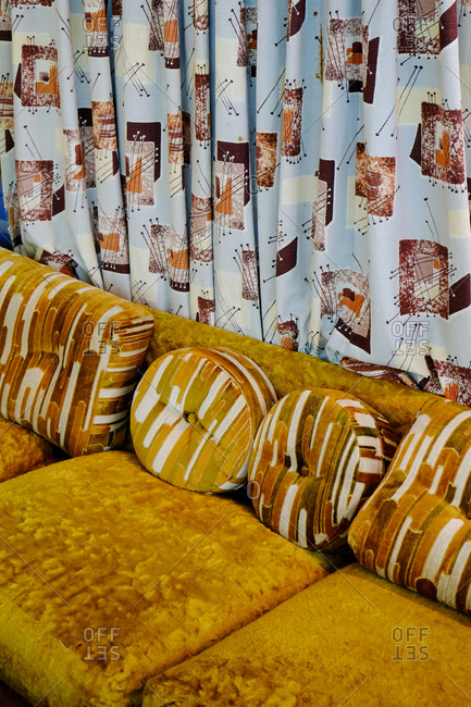 Retro couch and curtains