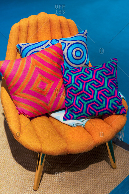 Retro chair with colorful cushions