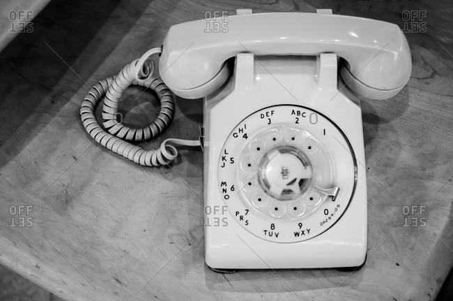 Close up of a rotary telephone