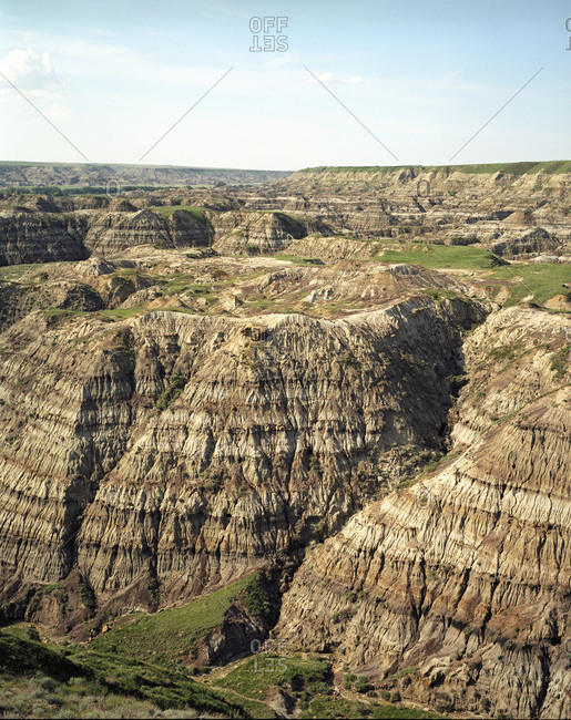 The arid terrain of the Alberta Badlands stretch out for miles at Horse Shoe Canyon located near Drumheller