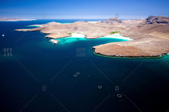 Aerial view of salt lagoons in La Paz, Mexico