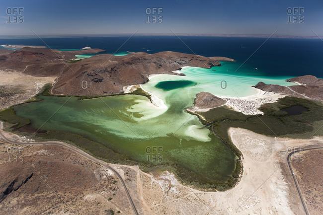 Natural salt lagoons in La Paz, Mexico