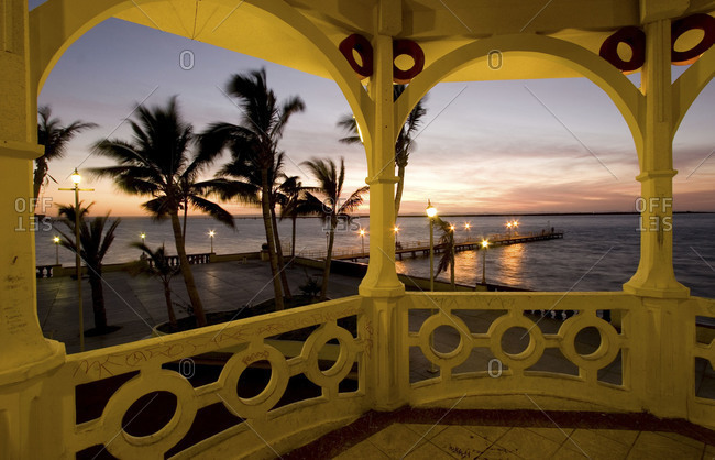 Sunset seen from a gazebo in La Paz, Mexico